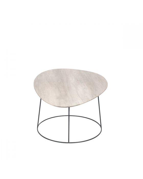 White Oak Veneer and Black Metal Coffee Table