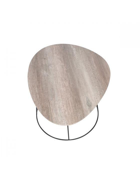 White Oak Veneer and Black Metal Side Table