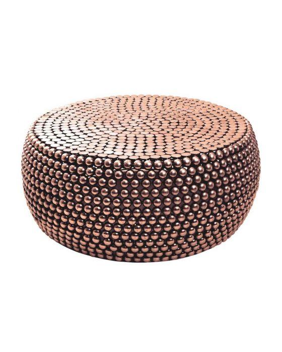 Copper Beaded Round Templar Coffee Table