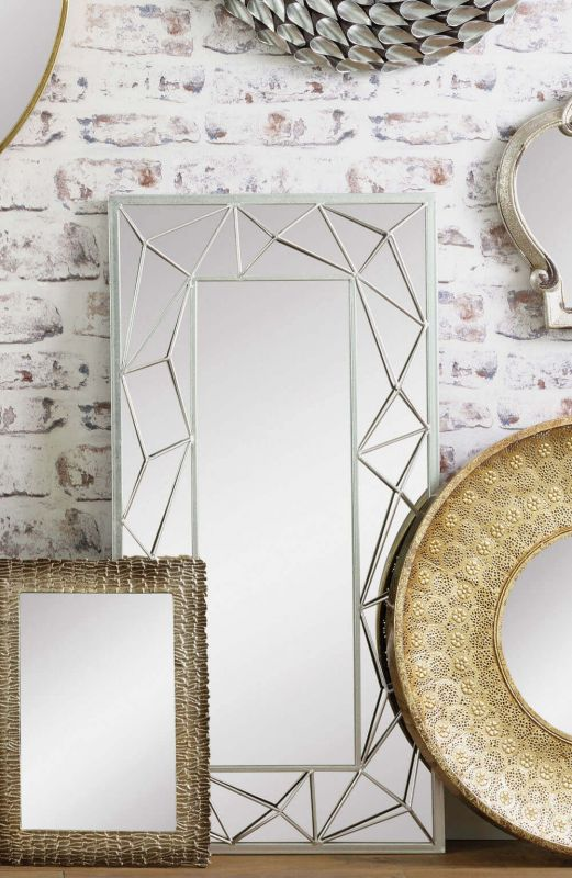 Segmented Distressed Silver Metal Retro Wall Mirror
