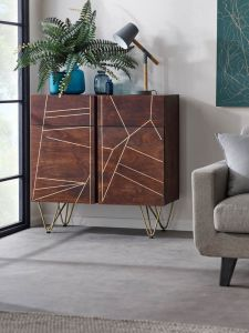 Ajay Dark Gold 2 Door Sideboard With Gold Inlay