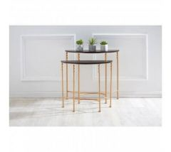 Alexa Half Moon Black and Rose Gold Console Table - Set of 2