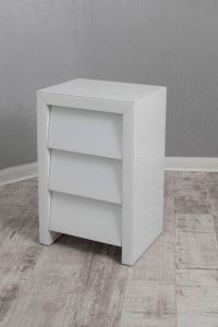 Alyeska White Glass 3 Drawer Bedside Chest
