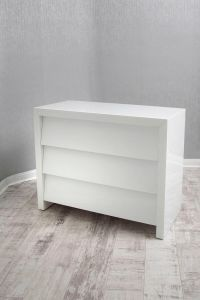 Alyeska White Glass 3 Drawer Chest of Drawers