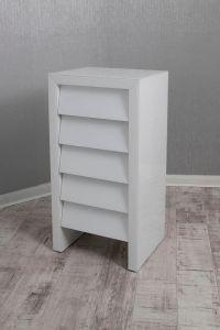 Alyeska White Glass 5 Drawer Tall Chest
