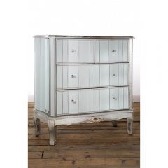 Antonia Shabby Silver Mirrored Chest of Drawers