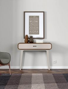 Arcus Walnut and Warm Tea Console Tables