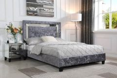 Augusta Crushed Velvet Bed Frame - Mirror Headboard