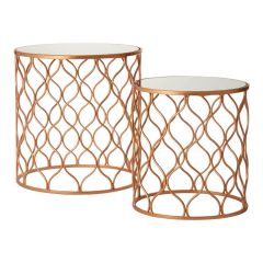Avento Mirrored and Copper Set of 2 Tables