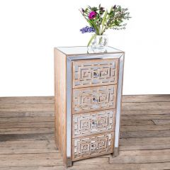 Azur Mirrored Four Drawer Tallboy Chest