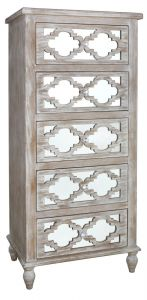 Beach Walk Mirrored 5 Drawer Tall Cabinet