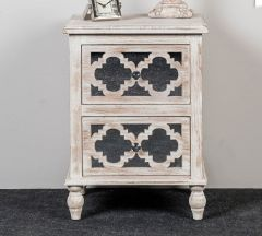 Beach Walk Mirrored 2 Drawer Bedside Cabinet