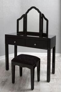 Black Glass Dressing Table Set