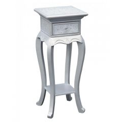 Chinese White/Silver Embossed 1 Drawer Side Table