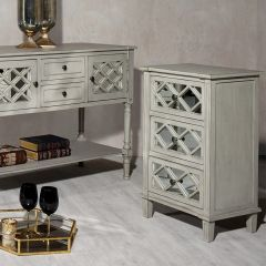 Clara Grey Mirrored Bedside Chest