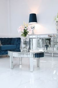 Clear Mirrored Bevelled Oval Mirror Coffee Table