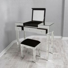 Clear Mirrored Flip Up Mirror Dressing Table