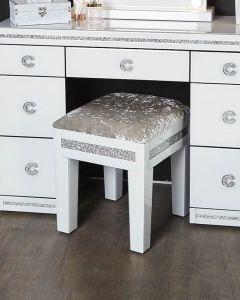 White Cleopatra Mirrored Stool