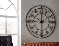 Breezehill Grey and Gold Metal Wall Clock