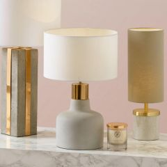 Marquis Concrete Table Lamp with Copper Trim