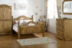 Corona Pine Scroll Double Bed Frame