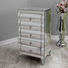 Curved Mirrored Tallboy Chest