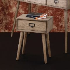 Desert Brown Pine Wood 1 Drawer Side Table
