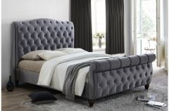 Denver Grey Or Black Velvet King Size Bed Frames