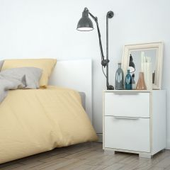 Design Line White and Oak Bedside Cabinet
