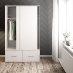 Design Line White and Oak Double Wardrobe