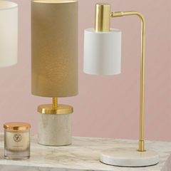 Devere White Marble & Gold Table Lamp