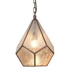 Distressed Silver Glass Industrial Pendant