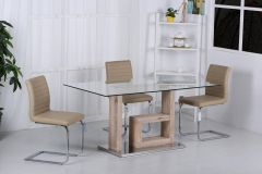 Diana Glass and Wood Feature Dining Set