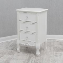 Ella French White 3 Drawer Bedside Cabinet