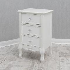 Ella French White 3 Drawer Bedside Cabinet