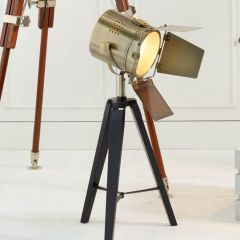 Film Style Black & Antique Brass Tripod Table Lamp