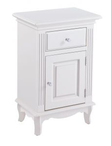 French White 1 Door 1 Drawer Bedside