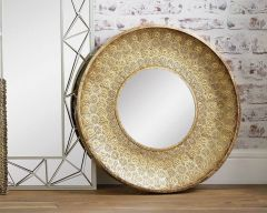 Gold Disc Metal Wall Mirror