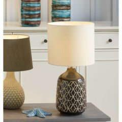 Grey Retro Geo Design Table Lamp
