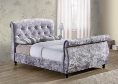 Carmes Grey Fabric Double & King Bed Frames