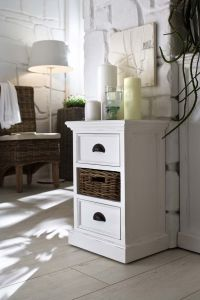 Halifax Bedside Storage Unit With Rattan Baskets