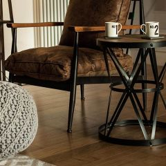 Industrial Foundry Round Side Table
