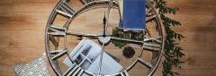 Kline Antique Silver Finish Clock Coffee Table