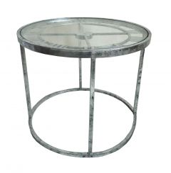 Kline Antique Silver Finish Clock Side Table