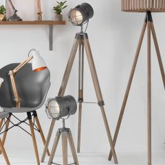Marine Rustic Wood and Metal Tripod Floor Lamp