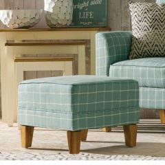 Medan Coastal Edition Teal Check Footstool