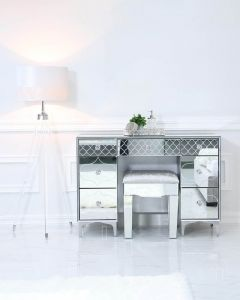 Mirrored Quatrefoil Designed Stool with Velvet Seat