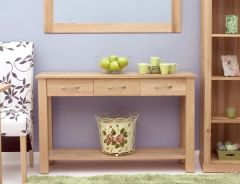 Modern Light Oak Console Table