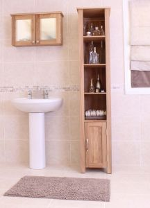 Modern Light Oak Open Bathroom Unit Tall