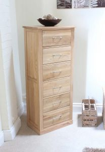 Modern Light Oak Tallboy (6 Drawer)